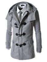 Amazon.com: TheLees Mens casual double slim cotton hood trench coat: Clothing