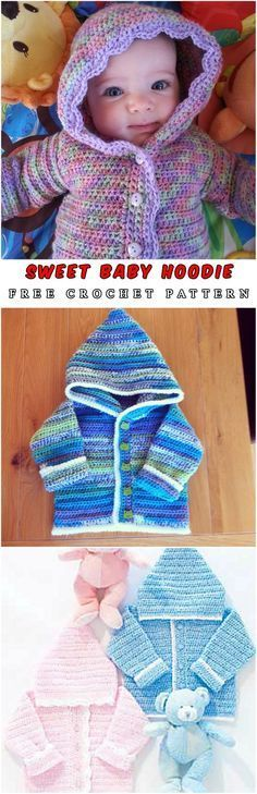 Free Crochet Pattern: Baby Hoodie - Hello, dear crochet masters. I love the hoodie projects because of the functionalities. Babies are covered by warm clothes. Look at these awesome. #crochet #freepattern #babyhoodie