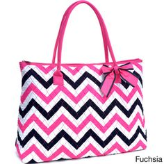 Large Oversized Quilted Chevron Print Tote Bag | Overstock™ Shopping - Great Deals on Tote Bags