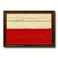 Poland & Polish Country Flag Vintage Canvas Print with Brown Picture Frame Home Decor Gifts Wall Art Decoration Artwork