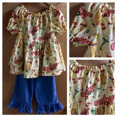 A Christmas Story Top with Ruffle Pants, girls size 7 by SewMeems on Etsy