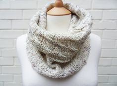 Rustic Cables Scarf Cowl Misty Morning by KnitFrekkles on Etsy