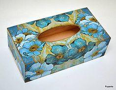 Krabičky - Vreckovník tyrkysové kvety - 7516610_ Tissue Box Holder, Tissue Boxes, Shabby Chic Crafts, Facial Tissue, Decorative Boxes, Arts And Crafts, Box, Necklaces, Craft