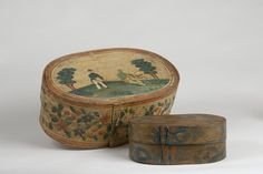 German painted oval box