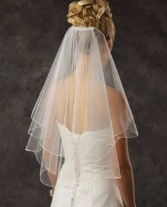 Two Layer Elbow Length Bridal Veil with Rhinestones by JL Johnson Bridal.