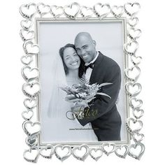 Fetco Home Decor Wedding Open Heart with Crystals Picture Frame