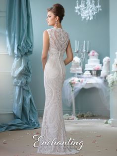 Enchanting by Mon Cheri - 116123 - Sleeveless hand-beaded charmeuse and lace sheath gown. I'm in Loooove!!