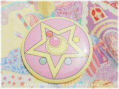 "Sailor Moon R Locket Inspired 3"" Button Pin for Fairy Kei, Mahou Kei, Magical Girl Fashion. $5.00, via Etsy."