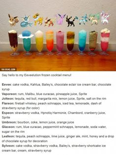 Eeveelution drinks...my nerd is showing