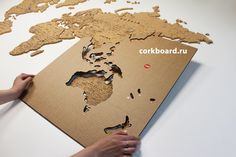 Set cardboard templates for correct installation. Cork World Map, Cork Map, Traveling Alone Quotes, World Pictures, Map Design, Travel Maps, Packing Tips For Travel, Home Wall Decor, Book Photography