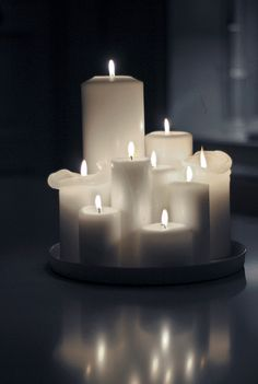 Beautiful White Candles - various sizes - so simple but beautiful! Sweet Home, Chandeliers, Candle In The Wind, Light My Fire, Soft Light, White Candles, Pillar Candles, Flickering Candle, Romantic Candles