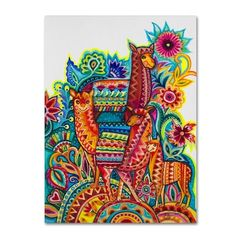 Shop Trademark Fine Art Animals Framed 24-in H x 18-in W Animals Canvas Printundefined at Lowe's.com. This ready to hang, gallery-wrapped art piece features a group of alpacas standing on a hill with a pattern on it. Giclee (jee-clay) is an advanced printmaking Artist Canvas, Artist Painting, Watercolor Painting, Alpacas, Lace Drawing, Byzantine Icons, Animal Fashion, Canvas Art Prints, Art Reproductions