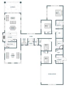"""I am a bit of a sucker for any H-shaped floor plans which have """"wings"""". I'd love a home where the living and bedrooms are distinctly separate via a foyer area. I saw this one pop up and knew I had to add to my huge collection of Floor Plan…"""