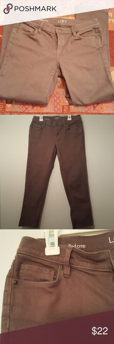 Ann Taylor loft modern cuffed crop jeans sz 27/4 P In excellent condition. Olive green color. Inseam 25''. 98% cotton 2% spandex. Sz 27/4 P. Modern cuffed crop style. Ann Taylor Jeans Ankle & Cropped