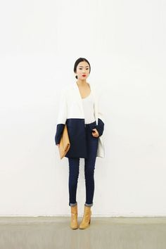 boot, fashion, color block, blue, outfit, jackets, street styles, navy, coats