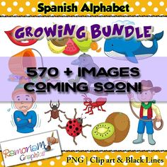 Spanish Alphabet Clip art set containing 571 individual pieces in Spanish.  This is a growing bundle. I will endeavor to add all the letters over the following weeks. Currently there are no letters added in the download. As I add content, the price will increase until all letters have been added.