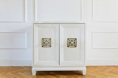 """Perfect as a nightstand, bath vanity, or accent piece.  This NEW hand crafted piece was built and lacquered in white at the CEH. It  is is adorned in the amazing Addison Weeks new line of hardware (brass and  amazonite). Addison Weeks has been featured in """"Oprah's Favorite Things""""  this year, and the hardware is nothing short of SPECTACULAR. We can build  another to match for a set of nightstands, or this could be used in a  bathroom as a gorgeous vanity with a thick piece of ma..."""