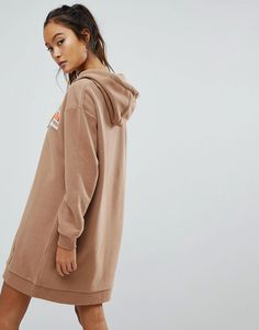 Ellesse Oversized Hoodie Dress With Washed Out Logo - Tan