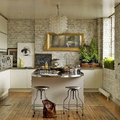 Exposed brick walls add character and rustic charm to any interior and can make any room looks quite industrial.
