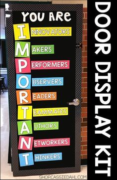 Decorate your classroom door with an inspirational message. All of the pieces are easy to cut and the display fits perfectly on a classroom door or you can use it on a bulletin board! Perfect for back to school or anytime throughout the school year. Classroom Door Displays, School Displays, Classroom Bulletin Boards, New Classroom, Preschool Classroom, Classroom Organization, Classroom Design, Bulletin Board Ideas For Teachers, Counseling Bulletin Boards