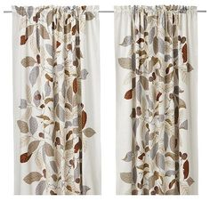 home decor: pretty curtain panels for french doors; autumn fall-look; use dark rust, brown, gray throw pillows.
