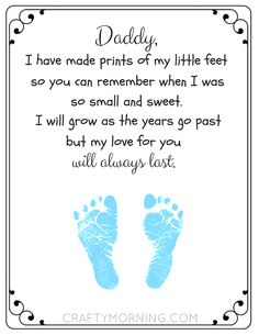 Free Printable Father's Day Footprint Poem - Crafty Morning clever fathers day gifts, decorations for fathers day, fun dad gifts Printable Father's Day Footprint Poem - Crafty Morning Kids Fathers Day Crafts, Fathers Day Art, First Fathers Day Gifts, Daddy Gifts, Fathers Day Presents, Poem On Father, Cute Fathers Day Ideas, Happy Fathers Day Poems, Fathers Day Letters