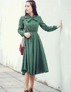 Frete grátis 2016 primavera outono nova moda casual de algodão maxi dress manga comprida mori menina vestido de bolinhas em Vestidos de…