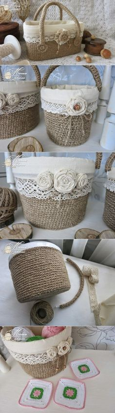 Jute baskets from plastic buckets. Councils for jute. Burlap Projects, Burlap Crafts, Easy Craft Projects, Diy Crafts To Sell, Home Crafts, Easy Crafts, Burlap Flowers, Diy Room Decor, Christmas Diy