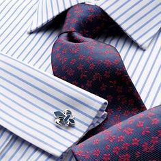 White and sky twill stripe non-iron Slim fit shirt