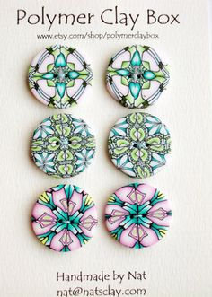 kaleidoscopes polymer clay buttons by polymerclaybox