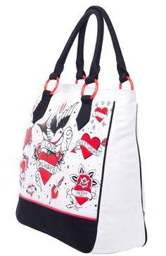 Tattooed Hearts Tote Bag - The Violet Vixen Pennies adf64f790b0dd