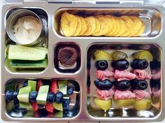 """""""We've got a little skewer/kabob thing going right now; Can you tell? It's a simple way to make food a little different and fun!"""" Thank you to Briana (@thesowhatmom on Instagram) for sharing this with us! #PlanetBox #Lunchbox #food #schoollunch www.planetbox.com"""