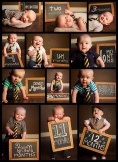 Foto ideetje: baby maandelijks op de foto