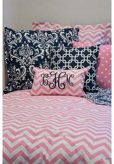 Pink & White Chevron Designer Teen & Dorm Bed in a Bag | Teen Girl Dorm Room Bedding