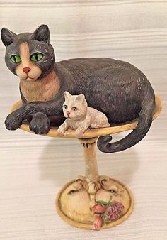 "Keeping Watch 1st Ed Lang Wise Cat & Kitten in Birdbath 5"" Resin 1999 EK Brownd"