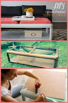 Take an old coffee table and upcycle and upholster it.