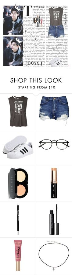 """""""Hyungwon - Monsta X"""" by typical-ghoul ❤ liked on Polyvore featuring R13, Topshop, adidas, Bobbi Brown Cosmetics, CARGO, Clinique, Too Faced Cosmetics and Frasier Sterling"""