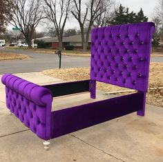 Sleigh Bed Tufted Channel Velvet Extra Tall Headboard Queen | Etsy Purple Headboard, Diy Tufted Headboard, Tufted Bed, Purple Furniture, Modern Bedroom Furniture, Bedroom Bed Design, Bedroom Decor, Storage Bed Queen, Diy Cardboard Furniture