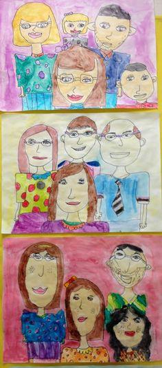 Apex Elementary Art: we are family. 3rd Grade Art Lesson, Third Grade Art, 2nd Grade Art, Grade 3, Art Lessons For Kids, Art Lessons Elementary, Art For Kids, Family Portrait Drawing, Family Portraits