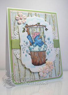 Card featuring, Little Bird's Shower, a digital stamp from #MelJen's Designs.