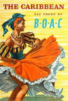 Caribbean BOAC Hayes, 1950s - original vintage poster by Hayes listed on