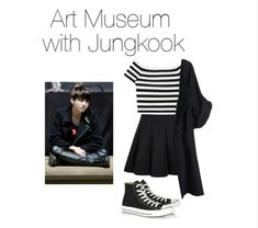 A fashion look from May 2016 featuring off the shoulder tops, oversized coats and short pleated skirt. Browse and shop related looks. Kpop Fashion Outfits, Korean Outfits, Teen Fashion, Korean Fashion, Girl Outfits, Womens Fashion, Cute Comfy Outfits, Simple Outfits, Pop Clothing