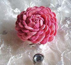 Rickrack Rosette Flower ID Badge Holder with by krantwist on Etsy, $9.99