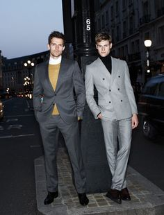 From left: Suit by Dolce & Gabbana, sweater by Burberry Brit, shirt by Hermés, shoes by Cesare Paciotti.  Suit and turtleneck by Tommy Hilfiger, shoes by Ermenegildo Zegna.