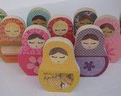 YOU CHOOSE any FIVE Matryoshka Wooden Doll Art - eco-friendly by Maple Shade Kids. $65.00, via Etsy.