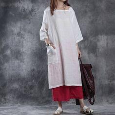 Women summer loose pullover linen dress