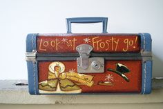 Christmas Snowman Vintage Cosmetic Case~ Hand Painted Snowman Decor~ Look at Frosty go!