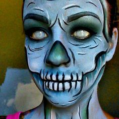 Cartoon skeleton makeup Halloween makeup tutorials www.Youtube.com/empressmakeup