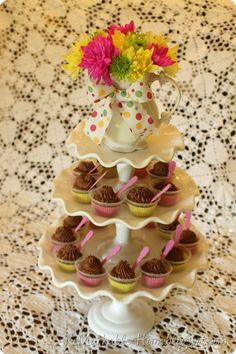 Chocolate mini mousse cups.  LOVELY LITTLE PRINCESS BABY SHOWER {Party}  {www.ReMarkableHome.net}