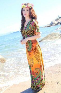 1225e2b5ff6 Women s Sexy Yellow V-Neck Floral Floor-Length Maxi Dress